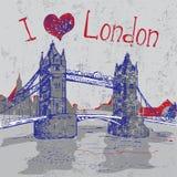 Hand drawn London Tower Bridge. Hand drawn grunge London Tower Bridge Stock Photos