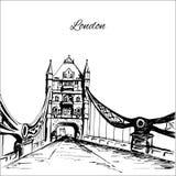 Hand drawn London Tower Bridge. On white background Stock Photography