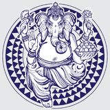 Hand drawn Lord Ganesha over tribal geometric pattern. Highly detailed beautiful vector illustration isolated. Psychedelic. Hand drawn Lord Ganesha over tribal royalty free illustration