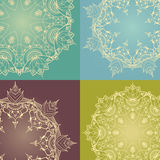 Hand-drawn lotus in east style circular pattern. Four floral round backgrounds. Circular ornaments with lotus flowers. Can be used for backgrounds, business royalty free stock image