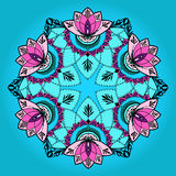 Hand-drawn lotus in east style in mandala. Round pattern mandala with lotuses in east style. Can be used for backgrounds, business style, tattoo templates, cards royalty free stock photos