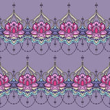 Hand-drawn lotus in east style. Seamless pattern with lotus in east style. Can be used for backgrounds, business style, tattoo templates, cards design or else royalty free stock image