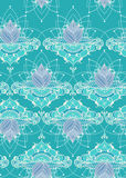 Hand-drawn lotus in east style. Seamless pattern with lotus flowers. Can be used for backgrounds, business style, tattoo templates, cards design, textile or else royalty free stock photo