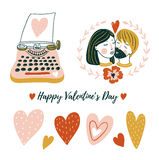 Hand drawn love design for valentine`s day. Set of vector isolated elements for print. Vector illustration. Royalty Free Stock Image