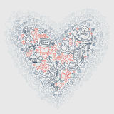 Hand drawn love doodle icons  illustration. Royalty Free Stock Images