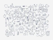 Hand drawn love doodle icons  illustration. Stock Images