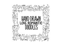Hand drawn love doodle icons illustration on white Royalty Free Stock Photography