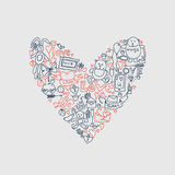Hand drawn love doodle icons illustration on white Stock Image