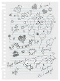 Hand-drawn love doodles Stock Image