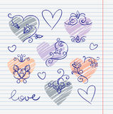 Hand-drawn love doodles Stock Photo