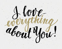 Hand drawn love quote Stock Photography