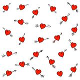 Hand drawn love seamless pattern on the white background vector illustration