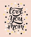 Love you mom text with circles on background royalty free illustration