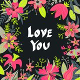 Hand drawn Love you typography lettering poster, card, illustration for mother`s day, valentine`s day vector illustration