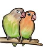Hand drawn Lovebirds  on white Royalty Free Stock Image