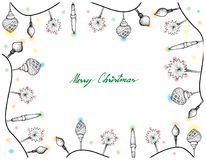 Hand Drawn of Lovely Christmas Lights Frame. Illustration Frame of Hand Drawn Sketch of Various Style Lovely Christmas Lights Hanging on The Air, One of The Most Royalty Free Stock Photography