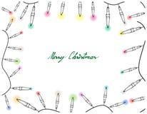 Hand Drawn of Lovely Christmas Lights Frame. Illustration Frame of Hand Drawn Sketch of Lovely Christmas Lights Hanging on The Air, One of The Most Often Seen Stock Photography