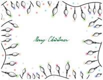 Hand Drawn of Lovely Christmas Lights Frame. Illustration Frame of Hand Drawn Sketch of Lovely Christmas Lights Hanging on The Air, One of The Most Often Seen Stock Image