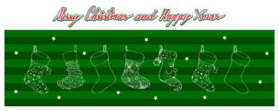 Hand Drawn of Lovely Christmas Stockings On Green Background. Illustration Hand Drawn Sketch of Checked Christmas Stockings Hanging on The Air Waiting for Santa stock illustration