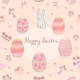 Hand Drawn lovely spring pattern background - Happy Easter made in vector. Royalty Free Stock Photos