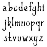 Hand drawn lowercase alphabet. Vintage handwritten font in gothic style. Stock Photography