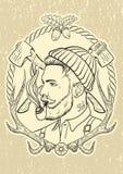 Hand drawn with lumberjack tobacco pipe. Stock Photo