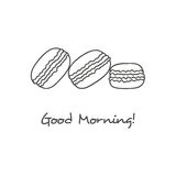 Hand drawn macarons icon. Macarons cake hand drawn cute black icon Royalty Free Stock Photos