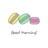 Hand drawn macarons icon. Macarons cake hand drawn cute black icon Stock Photography