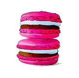 Hand drawn macaroons isolated on white background. Royalty Free Stock Images