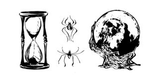 Hand drawn magic ball, hourglass and spiders sketch illustration. Vector black ink drawing isolated on white background. Grunge. Hand drawn magic ball, hourglass stock illustration