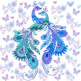 Hand drawn magic bird. Colorful peacocks for your design.  Royalty Free Stock Images