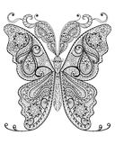 Hand drawn magic butterfly  for adult anti stress Coloring Page. With high details  on white background, illustration in zentangle style. Vector monochrome Royalty Free Stock Photography
