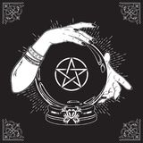 Hand drawn magic crystal ball with pentagram star in hands of fortune teller line art and dot work. Boho chic tattoo, poster or al Stock Photo