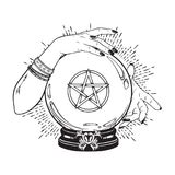 Hand drawn magic crystal ball with pentagram star in hands of fortune teller line art and dot work. Boho chic tattoo, poster or al. Tar veil print design vector Stock Image