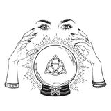 Hand drawn magic crystal ball with Triquetra or Trinity knot in hands of fortune teller line art and dot work. Boho chic tattoo, p Royalty Free Stock Image