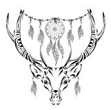 Hand drawn magic horned deer for adult anti stress Coloring Page with high details isolated on white background, illustration in z Royalty Free Stock Photography