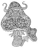 Hand drawn magic mushrooms  for adult anti stress Coloring Page Royalty Free Stock Photo