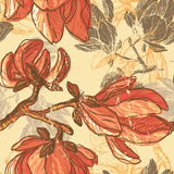 Hand drawn magnolia flowers seamless pattern Royalty Free Stock Photo