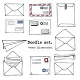 Hand drawn mail, post, letter, envelope, paper plane cartoon Set. Vector illustration. Doodle decorative elements. Mail and post i. Con in sketch style Stock Illustration