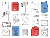 Hand drawn mail, post, letter, envelope, paper plane,mailbox cartoon Set. Vector illustration. Delivery Doodle decorative elements. Mail and post icon in vector illustration