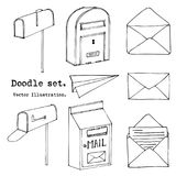 Hand drawn mail, post, mailbox, letter, envelope, paper plane Set. Vector illustration. Doodle elements. Mail and post icon in ske. Tch style Royalty Free Illustration