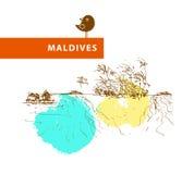 Hand drawn Maldives landscape sketch. Stock Images