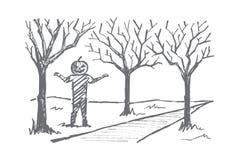 Hand drawn man with Halloween pumpkin head smiling Stock Photos