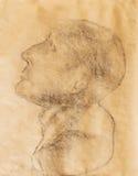 Hand drawn man head, Gypsum bust drawn. Royalty Free Stock Photography