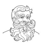 Hand-drawn man with mustache, beard and hairstyle. Hand-drawn serious man with mustache, beard and hairstyle. Vector Illustration isolated on white background royalty free illustration