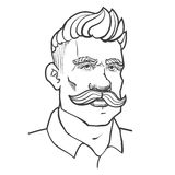 Hand-drawn man with mustache and hairstyle. Vector Illustration isolated on white background stock illustration