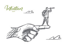 Hand drawn man standing on finger with spyglass. Vector hand drawn intuition concept sketch. Man standing on edge of huge human finger and looking throuth Stock Photography