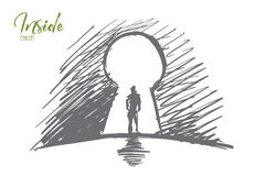 Hand drawn man standing in keyhole with lettering stock illustration