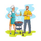 Vector sketch men drinking beer at barbeque party. Hand drawn man standing near barbeque grill preparing meat steak drinking beer from glass bottle with friend vector illustration
