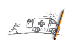 Hand drawn man trying to catch up ambulance car. Vector hand drawn ambulance concept sketch with pencil over it. Man running towards ambulance car and trying to Royalty Free Stock Photography
